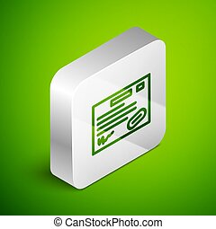 Isometric line Warranty certificate template icon isolated on green background. Silver square button. Vector Illustration