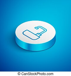 Isometric line Washbasin with water tap icon isolated on blue background. White circle button. Vector Illustration