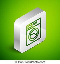 Isometric line Washer icon isolated on green background. Washing machine icon. Clothes washer - laundry machine. Home appliance symbol. Silver square button. Vector