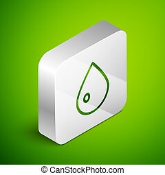 Isometric line Water drop icon isolated on green background. Silver square button. Vector Illustration