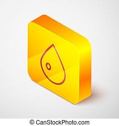 Isometric line Water drop icon isolated on grey background. Yellow square button. Vector Illustration