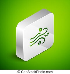 Isometric line Wind icon isolated on green background. Windy weather. Silver square button. Vector Illustration