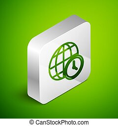 Isometric line World time icon isolated on green background. Clock and globe. Silver square button. Vector
