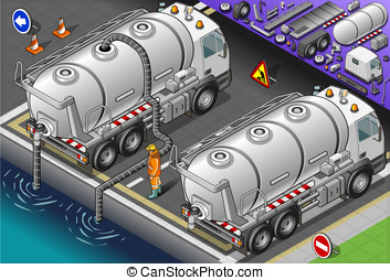 Isometric Liquid Tank Truck in Rear View - Detailed...