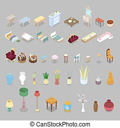 Isometric Living Room Bedroom Furniture Set. Interior Design. Vector flat 3d illustration