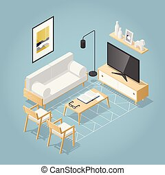 Isometric Living Room Illustration