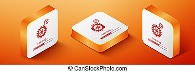 Isometric Loading and gear icon isolated on orange background. Progress bar icon. System software update. Loading process symbol. Orange square button. Vector