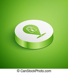Isometric Location lock icon isolated on green background. ...