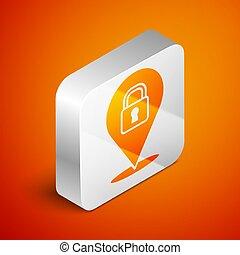 Isometric Location lock icon isolated on orange background. ...