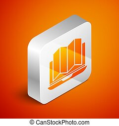 Isometric Location of the forest on a map in laptop icon isolated on orange background. Silver square button. Vector Illustration