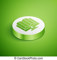 Isometric Location of the forest on a map in monitor icon isolated on green background. White circle button. Vector Illustration