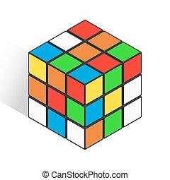 Isometric logic cube similar rubik toy vector icon