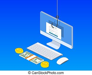 Login into account and fishing hook. - isometric Login into ...