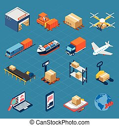 Isometric Logistic Icons - Isometric logistic icons set of ...