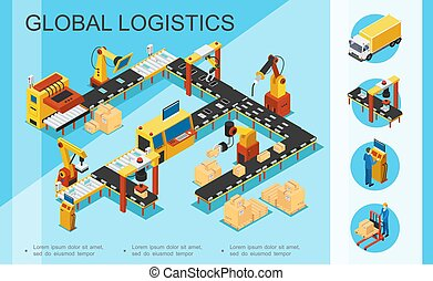 Isometric Logistics And Warehouse Concept