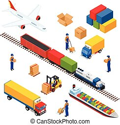 Isometric Logistics composition of different transportation distribution vehicles, delivery elements. Air cargo trucking, rail transportation, maritime shipping. 3D illustration.