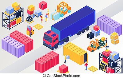 Isometric logistics, warehouse vector illustration. 3d people loading box in pallet, worker character packaging containers on trucks. Warehousing logistical service, wholesale distribution technology