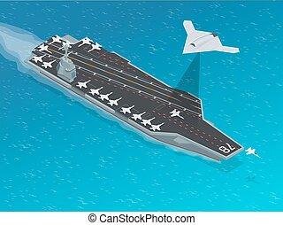Isometric Long Range Strike-Bomber. Aircraft military...