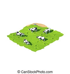 Isometric low poly cow, 3D rendering