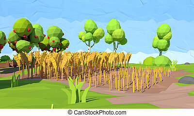 Isometric low poly field, 3D rendering