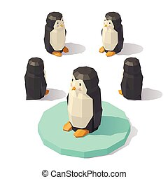 Isometric low poly penguin