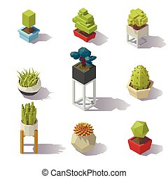 Isometric low poly Plants