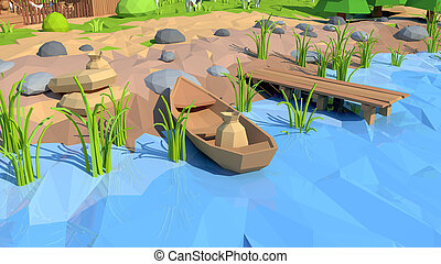 Isometric low poly shore, 3D rendering