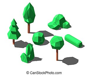 Isometric low poly trees and bushes set vector illustration