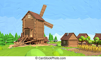 Isometric low poly windmill, 3D rendering