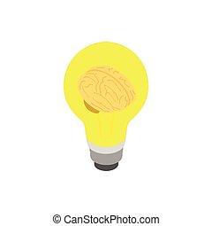 isometric, luz, estilo, cérebro, ícone, bulbo, 3d