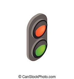 isometric, luz, tráfego, estrada ferro, 3d, ícone