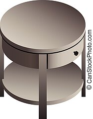 isometric, mód, ágy oldala, ikon, asztal, kerek