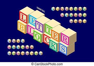 isometric, madeira, coloridos, letra, blocos, alfabeto