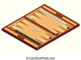 isometric, madeira, junta gamão, com, jogando partes, e, dice., vetorial, ilustração
