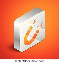 Isometric Magnet with lightning icon isolated on orange...