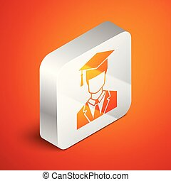 Isometric Male graduate student profile with gown and graduation cap icon isolated on orange background. Silver square button. Vector Illustration
