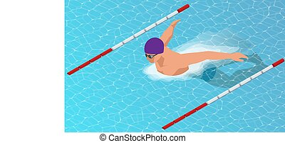 Isometric male swimmers doing butterfly style in different swimming lanes. Sports background