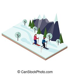 Isometric man and woman skiing. Happy couple loves skiing. Cross country skiing, winter sport. Olimpic games, recreation lifestyle, activity speed extreme