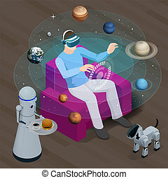 Isometric man in virtual reality glasses looks at the planets of the solar system. Sun, Mercury, Venus, planet earth, Mars, Jupiter, Saturn, Uranus, Neptune. Science and education vector background.