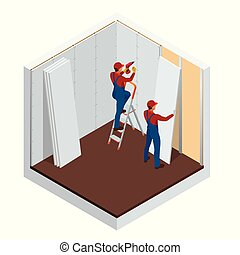 Isometric man installing drywall gypsum panels vector ...
