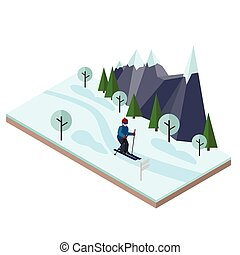 Isometric man skiing. Cross country skiing, winter sport. Olimpic games, recreation lifestyle, activity speed extreme