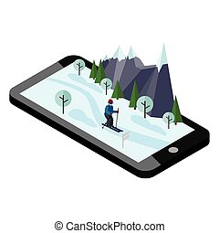 Isometric man skiing. Mobile navigation. Videos and photos keeped in phone memory. Cross country skiing, winter sport. Olimpic games, recreation lifestyle, activity speed extreme