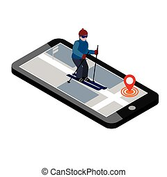 Isometric man skiing. Searching for cross country skiing in city. Winter sport. Mobile navigation. Olimpic games, recreation lifestyle, activity speed extreme