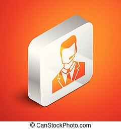 Isometric Man with a headset icon isolated on orange background. Support operator in touch. Concept for call center, client support service. Silver square button. Vector Illustration