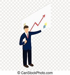 Isometric man with chart