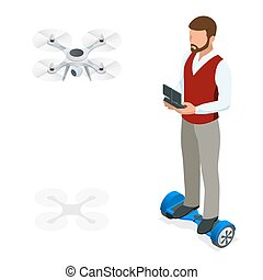 Isometric man with drone quadrocopter, Remote aerial drone...