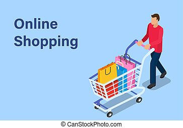 Isometric man with shopping cart.