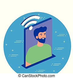 Isometric man with wifi icon vector design
