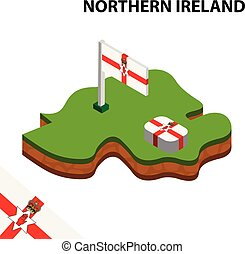 Isometric map and flag of Northern Ireland. 3D isometric Vector Illustration