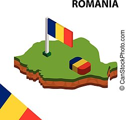 Isometric map and flag of Romania. 3D isometric Vector Illustration